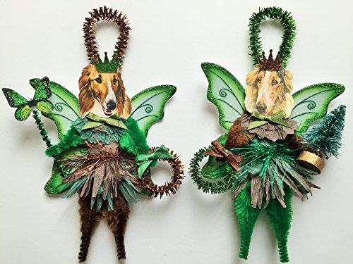 Borzoi WOODLAND FAIRY ornaments holiday dog ornaments vintage style chenille ORNAMENTS set of 2