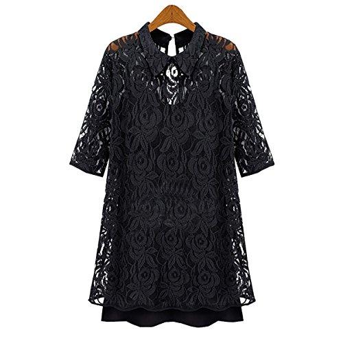 European Women's Two-piece Hollow Out Lace Dress Slim Chiffon Skirt Plus Size (Asian  4XL ( US  2XL(16) ))