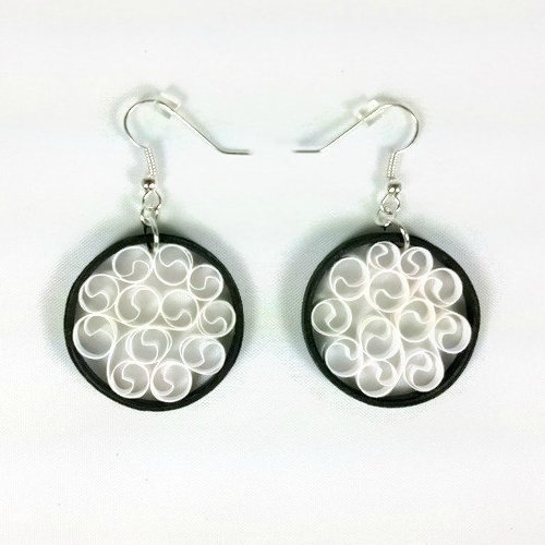 Handmade Earrings Black and White Filigree First Anniversary Gift Paper Quilling Jewelry