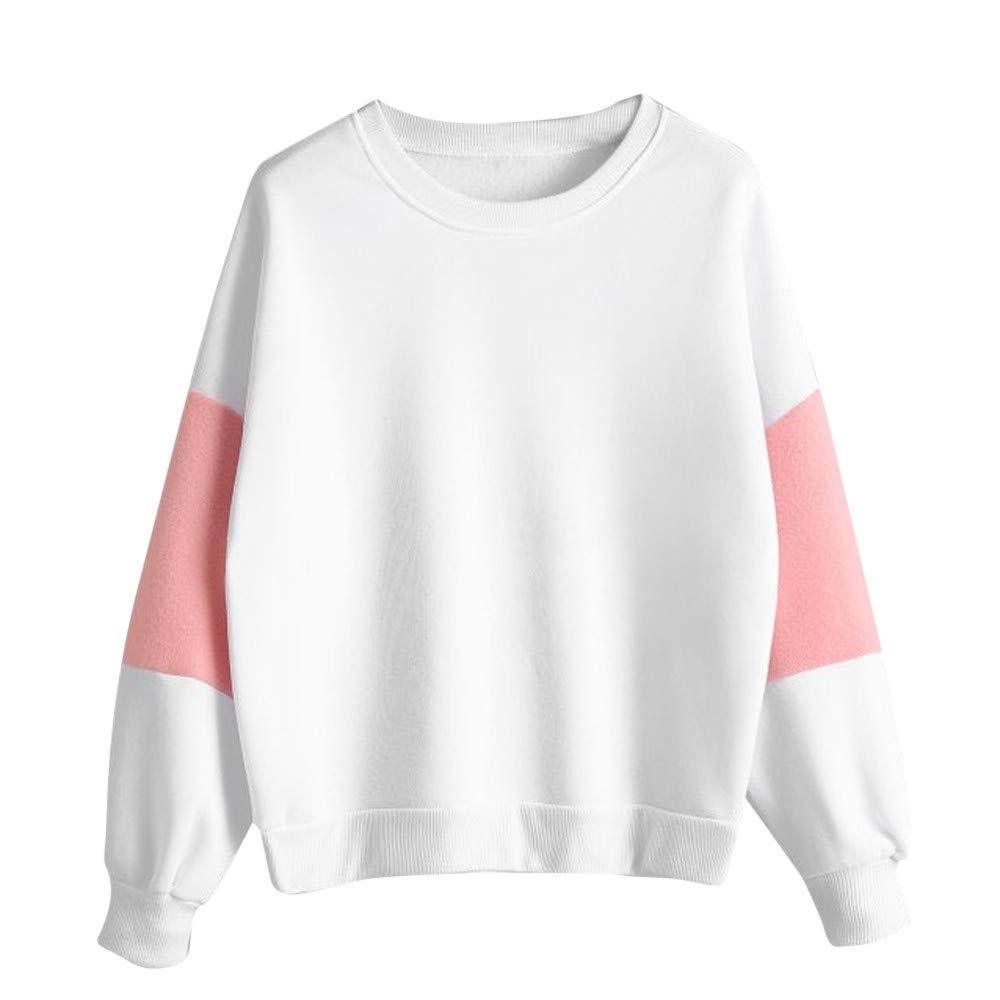 Yusealia Felpe Corte Tumblr Ragazza Pullover Donna Magliette Donna Giuntura di Colore Top Camicetta Donna Camicia Crop Top Manica Lunga T-Shirt Pullover Tops Maglione Maglia