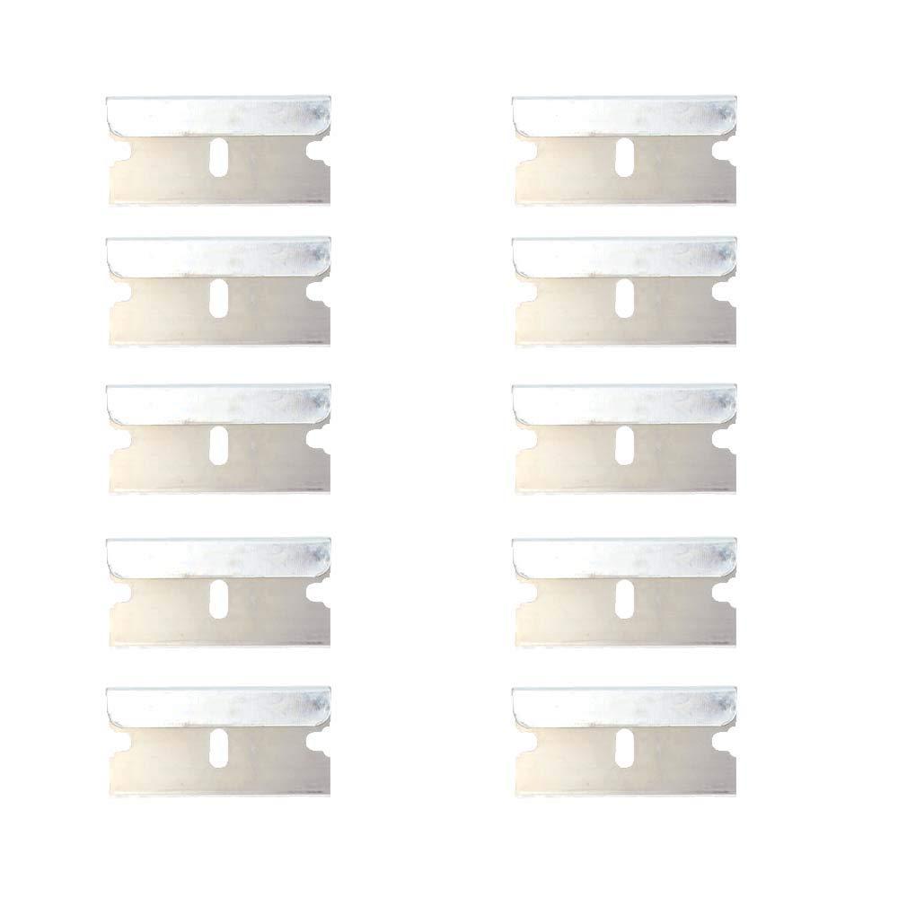 "Window Tint Tool Ceramic Glass Oven Paint Razor Scraper Glue Sticker Knife Clean Removing Squeegee 1.5"" Blade Plastic Handle 10pcs Metal Blades"