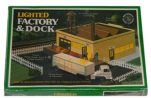 Bachmann HO Scale Lighted Factory and Dock Building and Landscape Kit