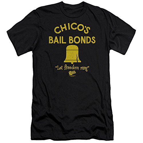 Bad News Bears Chicos Bail Bonds Unisex Adult Canvas Brand T Shirt for Men and Women, 2X-Large Black