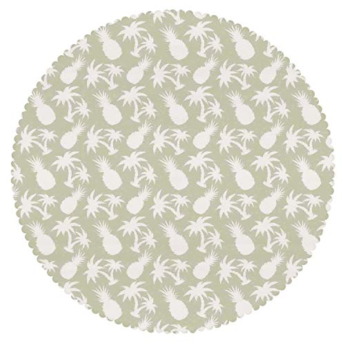 iPrint Beautiful Round Tablecloth [ Pineapple Decor,Silhouettes Coconut Palm Trees and Pineapples Floral Repeating Background Stylized Art ] Home Accessories Set