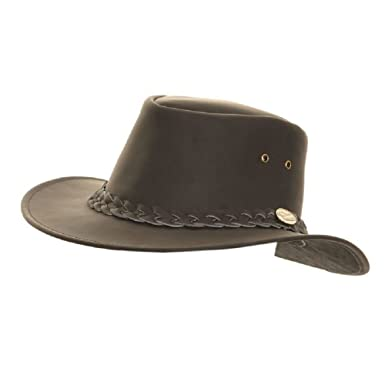 935a6ed389a Mens Leather hat Cowboy Australian Bush Stetson Black Brown  Amazon.co.uk   Clothing