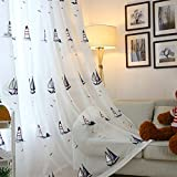 WPKIRA 1 Panel Girls Boys Beige White Background Curtain Sheer Panels 96 inch Long Faux Linen Embroidered Seagulls Sailboat Lighthouse Rod Pocket Curtains Sheer Voile Curtains Drapes Window Covering