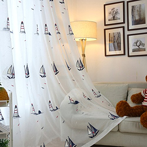 WPKIRA 1 Panel Girls Boys Beige White Background Curtain Sheer Panels 84 inch Long Faux Linen Embroidered Seagulls Sailboat Lighthouse Rod Pocket Curtains Sheer Voile Curtains Drapes Window Covering