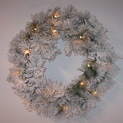 Lighted Christmas Snow-Flocked Wreath with Pine Branches with Pinecone Accents