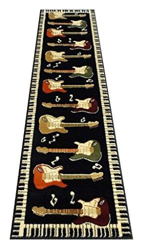 Guitars Amp Piano Runner Rug Bellagio 1 Black 2 Feet X 7