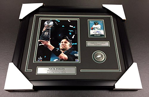 NICK FOLES SB LII MVP Autographed Card PHILADELPHIA EAGLES 8x10 PHOTO FRAMED - Philadelphia Eagles Autographed Card