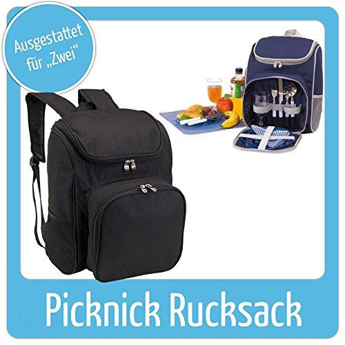 Super-schicker-Picknickrucksack-fr-2-Personen-inkl-Geschirr-usw-Farbe-Schwarz