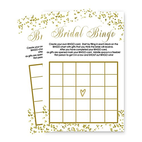 Bridal Shower Bingo Game Card Set of 25 - Abstract Black and Gold for $<!--$10.99-->