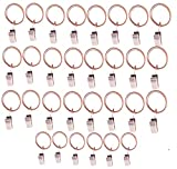 Lsgoodcare Set of 30 Decorative Metal Drapery Curtain Rings with Clips-1 Inch Interior Diameter, Red Bronze-Coloured Clip Rings for Curtain(Premium Iron Material)