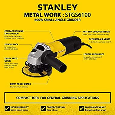 STANLEY STGS6100 600W, 100mm Small Angle Grinder (Yellow and Black) 9