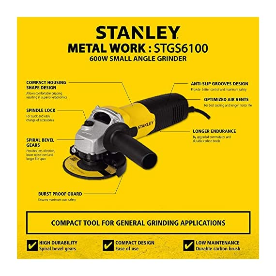 STANLEY STGS6100 600W, 100mm Small Angle Grinder (Yellow and Black) 3