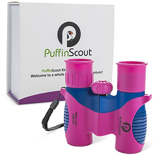 Kids Binoculars set 8x21 for Girls PINK orGREEN PuffinScout for Birdwatching-Spotting-High resolution REAL OPTICS Star-gazing Educational Toys for Girls - Outdoor Toys for Girls - Birthday Gifts Girls by PuffinScout