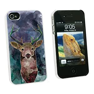 Graphics and More Deer Watercolor Purple - Hunting - Snap On Hard Protective Case for Apple iPhone 5c - White - Carrying Case - Non-Retail Packaging - White