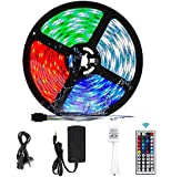RGB LED Strip Lights, VIPMOON 5M/16.4ft 300LEDs SMD 5050 Waterproof LED Strip with 44-Key RF Controller Color Changing…
