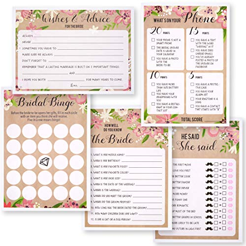 Best Paper Greetings Set of 5 Floral Bridal Shower Wedding Games, 50 Cards Each Game, 5 x 7 - Tea Bridal Favors Purse Shower