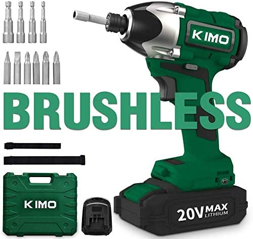 Impact Driver – 20V 2.0Ah Battery Brushless Cordless Impact Drill Kit w 2652in-lb 300NM Torque, 2800RPM Variable Speed, 6pc Screws, 4pc Nuts, Power Tool Bag, Lithium-Ion – KIMO