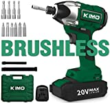 Brushless Cordless Impact Driver/Wrench - 20V Max Li-Ion KIMO Impact Wrench/Driver Kit w/ 221ft-lb Torque, 0-2800RPM Variable Speed, 4 lbs Lightweight for Driving Screws or Tightening Nuts Efficiently