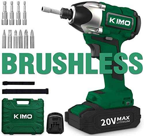 Impact Driver - 20V 2.0Ah Battery Brushless Cordless 3/8-Inch Hex Impact Drill Kit w/ 2652in-lb 300NM Torque, 2800RPM Variable Speed, 6pc Screws, 4pc Nuts, Power Tool Bag, Lithium-Ion - KIMO