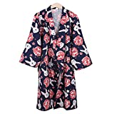 Kylin Express Japanese Style Close-fitting,short sleeves Cotton Kimono Pajamas Suit Dressing Gown Set, Q