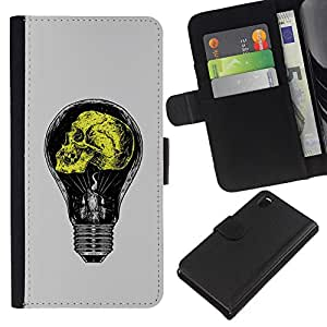 ZCell / Sony Xperia Z3 D6603 / Grey Yellow Light Bulb Yellow Idea / Caso Shell Armor Funda Case Cover Wallet / Gris Amarillo Luz Bombilla Amarill