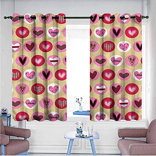 VIVIDX Grommet Curtains,Kids,Cute Cartoon Style Hearts,Insulated with Grommet Curtains for Bedroom,W63x72L