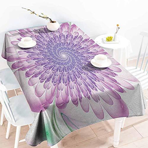 familytaste Spires,Tablecloth Custom Digital Floral Harmonic Spirals with Flourish Hypnotic Vision Petals Dreamlike Print 50