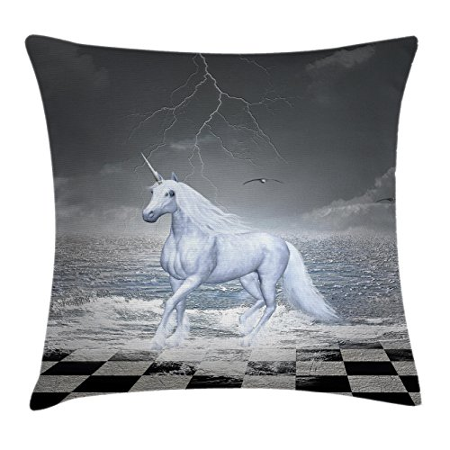 Unicorn Throw Pillow Cushion Cover by Lunarable, Digital Surreal Sea on Chessboard with a Unicorn Horse Galloping Myth Art Print, Decorative Square Accent Pillow Case, Grey White