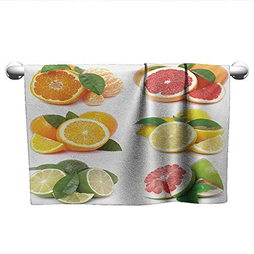 alisoso Fruits,Microfiber Kids Towel Orange Citrus Lemon Slice Mix Refreshment Healthy Natural Tropical Exotic Quick-Dry Towels Orange Lime Green Red W 28