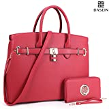 DASEIN Womens Top Handle Satchel Handbags Designer Tote Purse Shoulder Bag Faux Leather Padlock Briefcase Laptop Bag