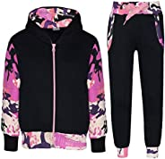 Kids Tracksuit Girls Boys Fleece Hooded Hoodie Bottom Jogging Suit Jogger 2-13Yr