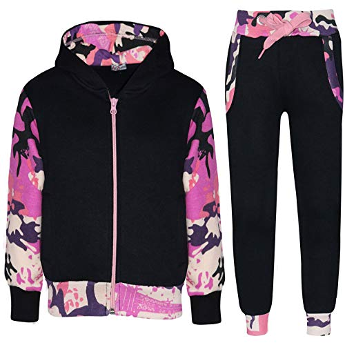 Kids Boys Girls Tracksuit Fleece Hooded Top - T.S Plain 101 Camo Baby Pink 9-10