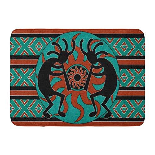 Bath Mat Teal Southwestern Kokopelli Southwest Design Native American Indian Flute Bathroom Decor Rug 20