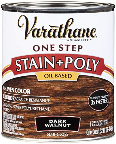Varathane 225250H One-Step Wood Stain & Polyurethane, Quart, Dark Walnut ()