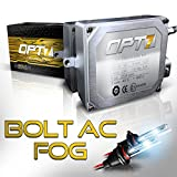 OPT7 Bolt AC Fog Light HID Kit 4x Brighter - 6x Longer Life - All Colors and Sizes Simple DIY Install - 2 Yr Warranty - Bulbs and Ballasts [9006 - 8K Ice Blue Xenon]