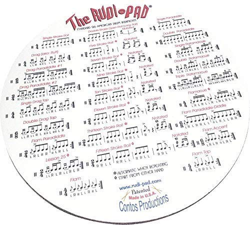 Rudi-Pad Drum Practice Pad with Standard 26 American Drum Rudiments, 9 inch, quiet