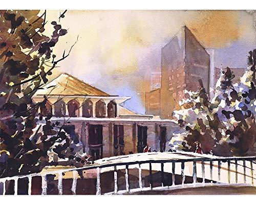 Watercolor painting of the North Carolina legislative building in downtown Raleigh, North Carolina ()