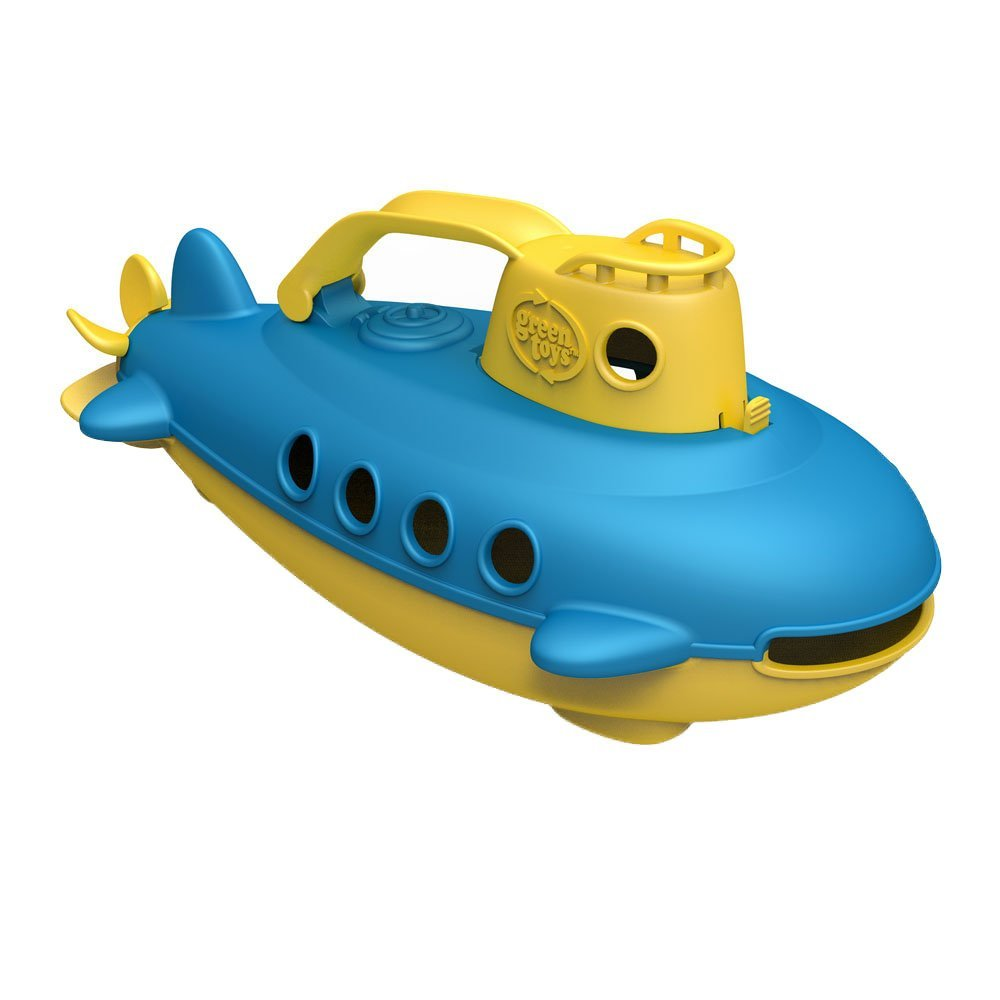 Green Toys Submarine in Yellow & blue - BPA Free, Phthalate Free, Bath Toy with Spinning Rear Propeller. Safe Toys for Toddlers, Babies