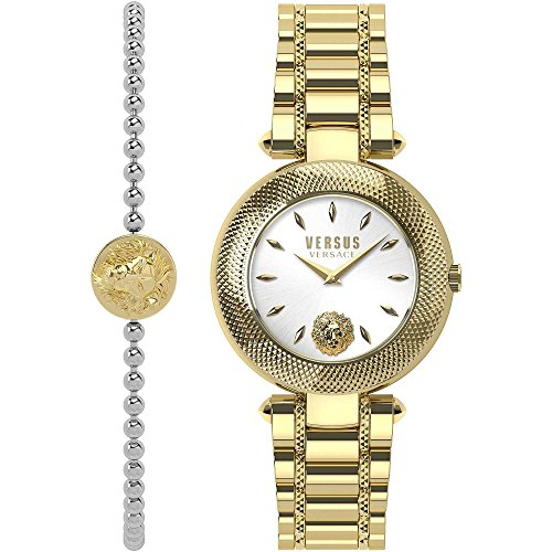 Versus by Versace Women's Brick Lane Combo Box Quartz Watch with Gold-Plated-Stainless-Steel Strap, 177 (Model: VSP712118) (Versace Hydrating Lipstick)