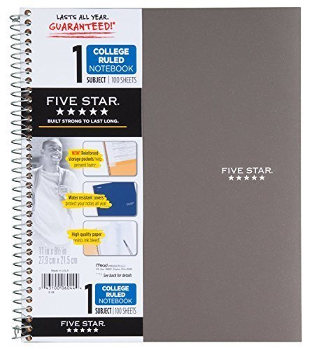 Five Star 06044 100 Count 1 Subject Wirebound Notebook (2 Pack)