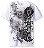 Southpole Boys' Big Short Sleeve Flock Print Graphic Tee with Vetical Logo, White, Small