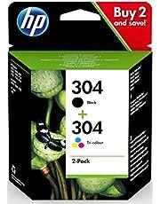 HP 3JB05AE 304 Original Ink Cartridges, Black and Tri-Colour, Pack of 2