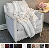 The Connecticut Home Company Original Luxury Faux Fur Throw Blanket, Soft, Large Plush Reversible Blankets, Warm & Hypoallergenic Throws for Couch or Bed, Washable, Microfiber 65