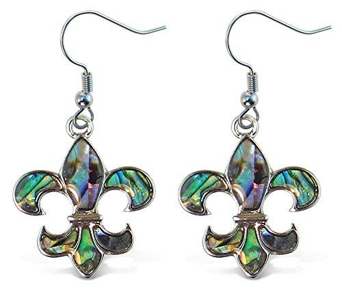 Liavy's Fleur De Lis Fashionable Earrings - Fish Hook - Abalone Paua Shell - Unique Gift and Souvenir