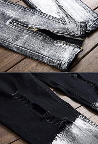 De 2018 De Rasgados Pantalones Vaqueros del Apedrados ADELINA Vaqueros Dril Pantalones Hombres del Vaqueros Diseño Pantalones Ocasionales Ropa Los Algodón Vintage Negro La Mirada Destruido De wxYaxZg