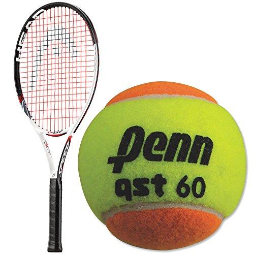 HEAD Speed Comp 23 Inch Junior Tennis Racquet bundled with a 3 Pack of Penn QST 60 Orange Tennis Balls Comp Racquet