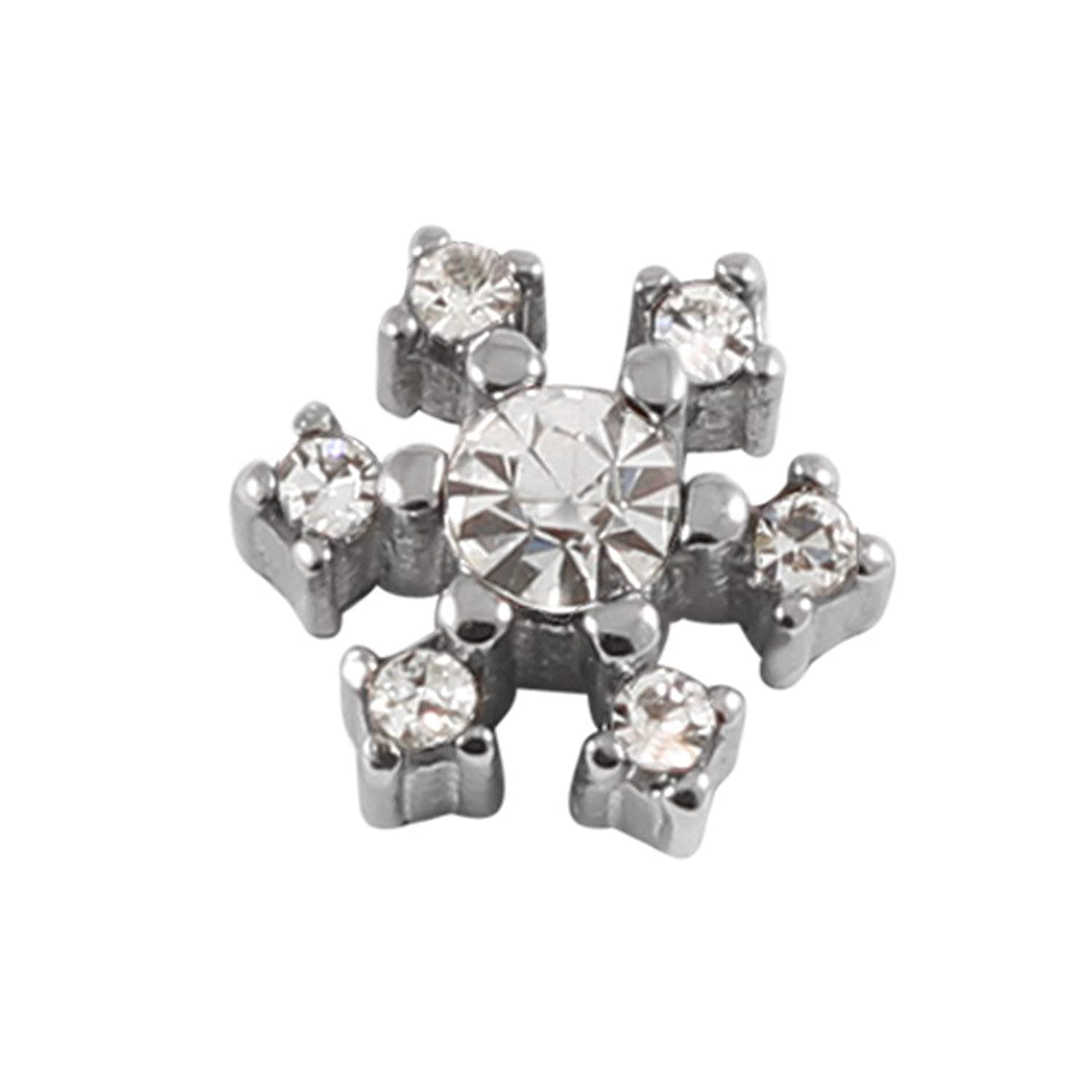 290ecadef Micro Dermal Anchor Attachment. Jewelled Snowflake top only. Surgical  Steel. for use with